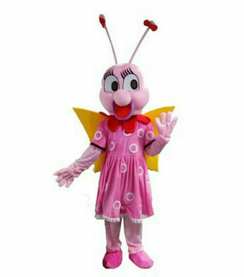 Cute Pink Bee Bumblebee Mascot Costume Suits Cosplay Party Outfits Carnival Halloween Adults Unisex Christmas Cosplay Gift