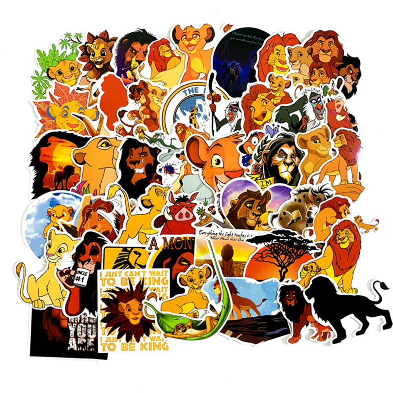 50pcs The Lion King Anime Cartoon Stickers Toy Luggage PVC Waterproof Sticker Motorcycle and Luggage Notebook Sticker F4(China)