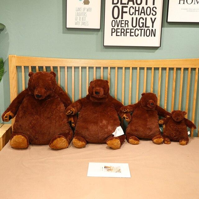40-100cm INS Fuzzy Plush Brown Bear Stuffed Animal Companion Friend Ultra Soft Doll Friends Kids Gift Dropshipping 1