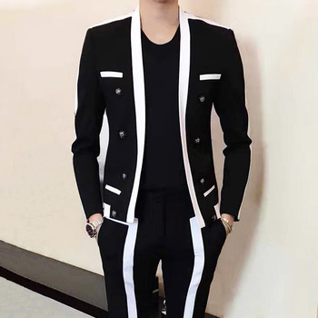Contrast Stripe Blalck White Suit Male Wedding Groom Suit 2020 Autumn Winter Disguised Men Slim Fit Stage Outfit Mens Party Suit