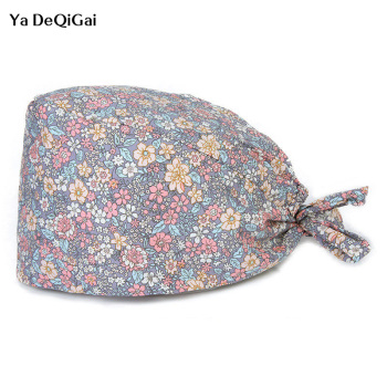 2020 Floral printing pet grooming hat Scrubs cap/hat beauty salon working hat accessories Wholesale prices women work hat Cotton