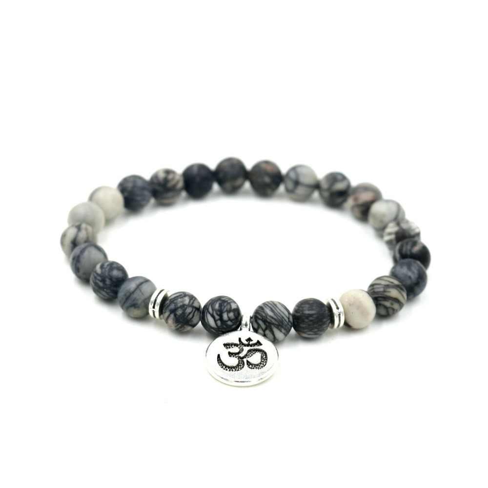 Natural cinza pedra charme pulseira om buda lótus frisado strand pulseiras para mulher pingente cura yoga artesanal jóias