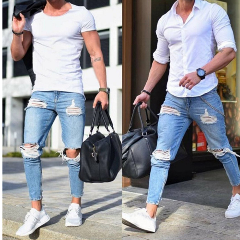 2019 Boutique Casual Skinny Jeans Men Straight Denim Jeans/Male Pants Skinny Men's Jeans Are Light Colored And Ripped Jeans