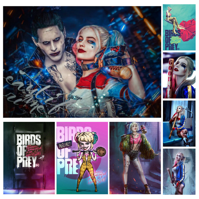 Hot Sale 2020 Birds Of Prey Joker Poster Harley Quinn No Date Mark Hight Quality Canvas Painting Wall Art  Poster Home Decor