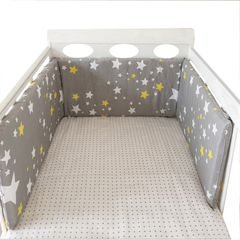 Baby Bed Crib Bumper Cotton Washable Newborns Cradle Protector Bumpers Stars Design Soft Breathable Bedding Set