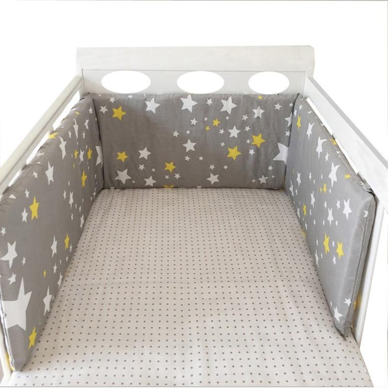 Baby Bed Crib Bumper Cotton Washable Newborns Cradle Protector Bumpers Stars Design Soft Breathable Bedding Set