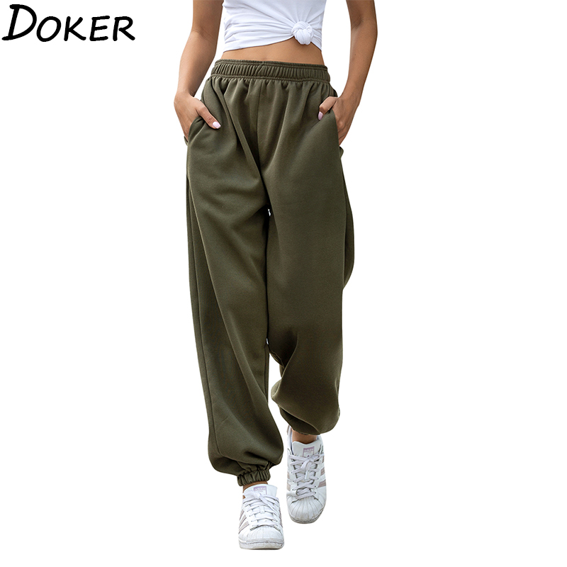 2020 Solid High Waist Pants Women Clothes Fashion Casual Streetwear Women Pencil Pants Plus Size Loose Sweat Pants Joggers Women