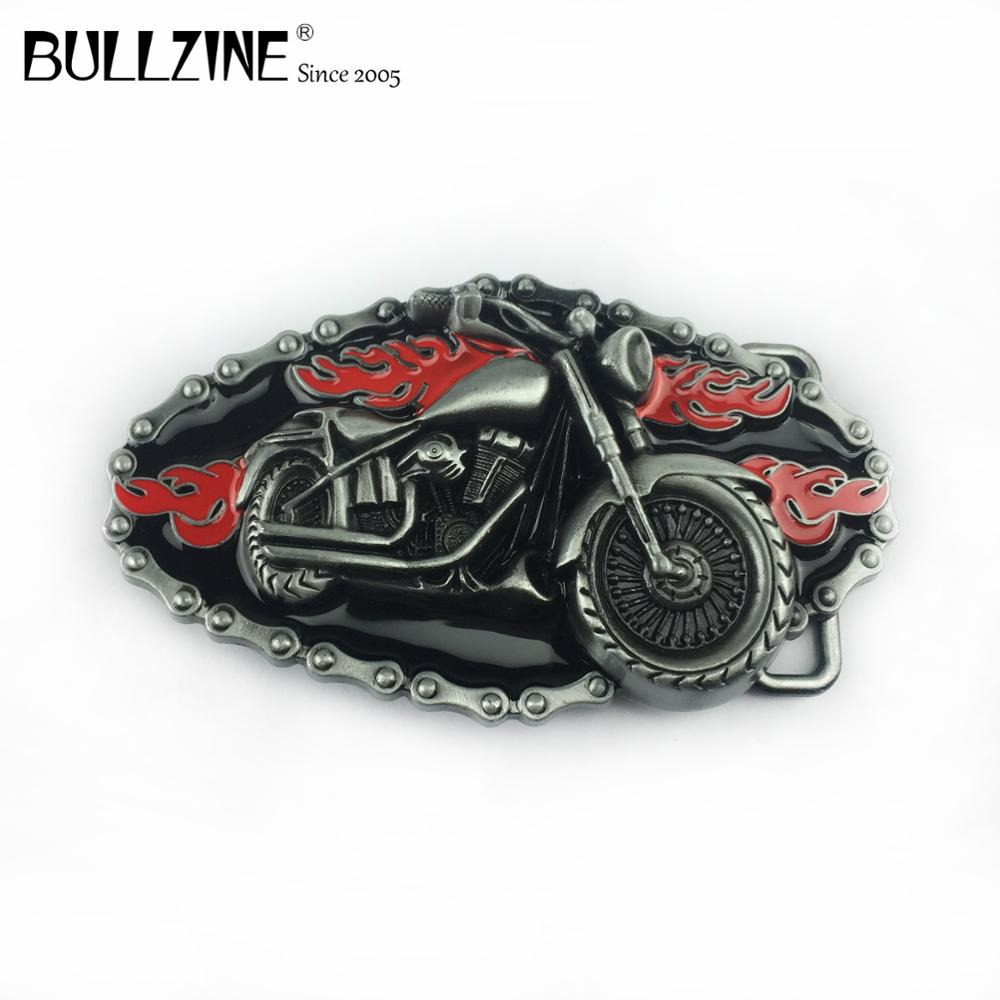 The Bullzine Motor belt buckle with pewter finish FP-03178 with continous stock