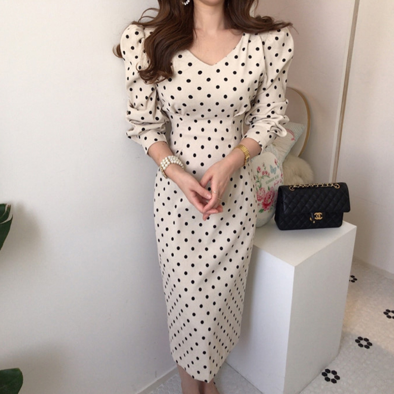 French style Spring autumn Women Casual Polka Dot Print A-Line Party Corduroy Dresses Eleagnt lace-up Slim Dress Fashion