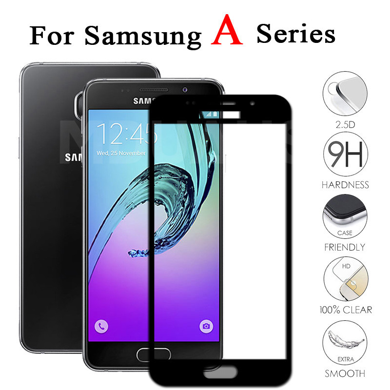 9D Anti-Burst Protective Glass For Samsung Galaxy A3 A5 A7 2016 2017 A6 A8 Plus A9 2018 Tempered Screen Protector Glass Film