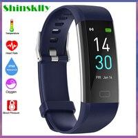 Reloj inteligente con Bluetooth 5,0 para hombre y mujer, pulsera con termómetro corporal IP68, Monitor de ritmo cardíaco, rastreador de Fitness deportivo