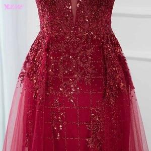 Image 5 - مثير أحمر بلينغ طويل مساء فستان سهرة لحفلات كريستال مطرز عميق الخامس الرقبة تول عارية الذراعين فساتين راقية YQLNNE