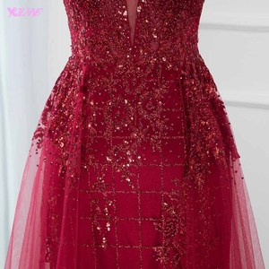 Image 5 - Sexy Red Bling Long Evening Party Gown Dresses Crystals Beaded Deep V Neck Tulle Backless Fashion Dress YQLNNE