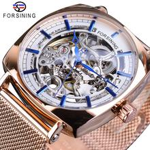 Forsining Rose Gold Mechanical Men Wristwatch Creative Square Transparent Business Steel Mesh Band Sports Automatic Watches Gift
