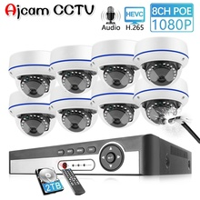 AJCAM CCTV 8CH 1080P POE NVR Kit Security Camera CCTV System Indoor Audio Record Sound IP Dome Camera P2P Video Surveillance Set