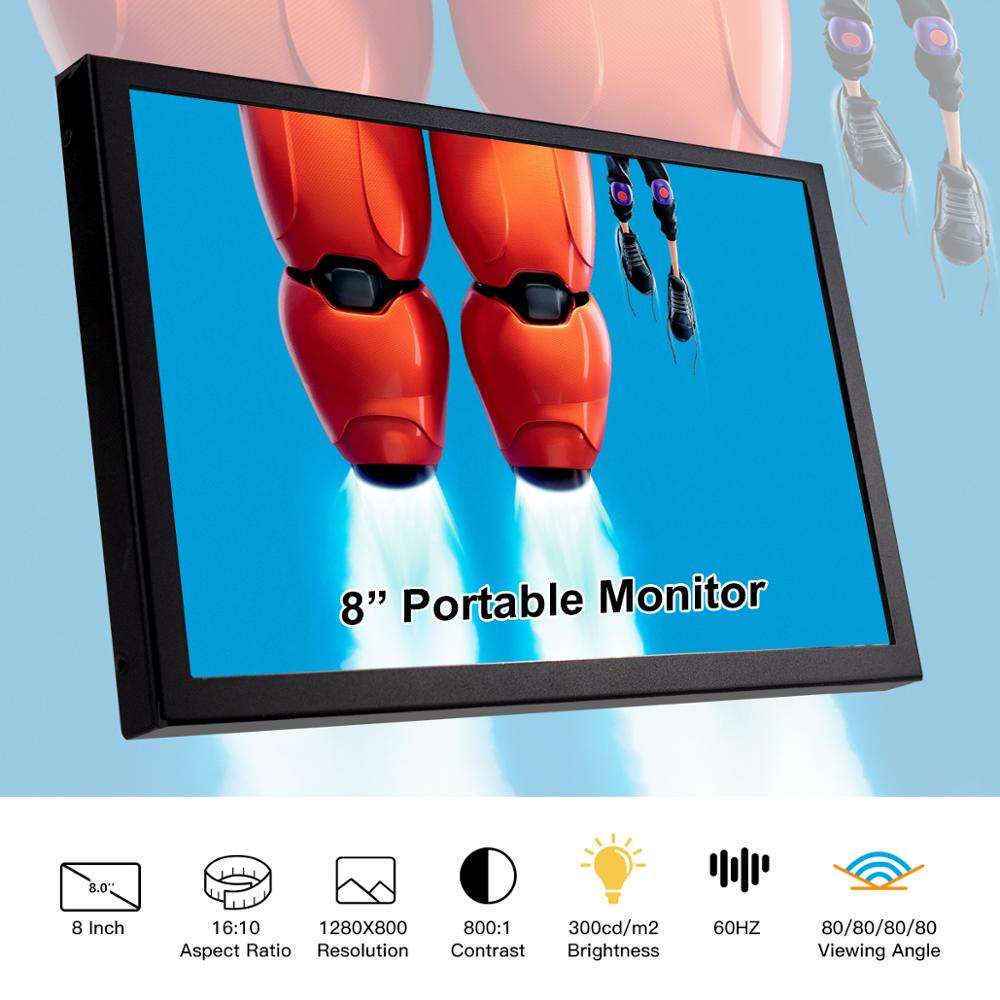 Framboesa pi tela portátil monitor 8 Polegada display lcd duplo alto-falante hdmi 1280x800 p ips tela monitor de jogos ultra fino display