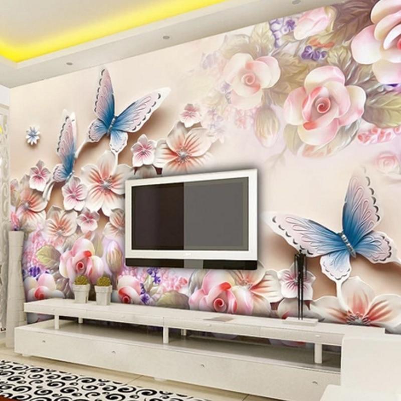 Top Brand Pink Roses Butterfly Flowers Modern Luxury Wall 3D Wallpaper for Bedroom Living Room Wall Murasl Papel De Parede 2020