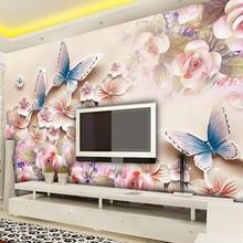 Top Brand Pink Roses Butterfly Flowers Modern Luxury Wall 3D Wallpaper for Bedroom Living Room Murasl Papel De Parede 2020
