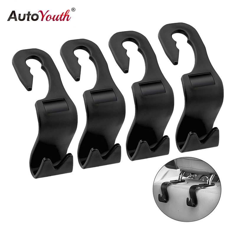 AUTOYOUTH 4Pack Car Vehicle Back Seat Headrest Organizer Hanger Storage Hook For Groceries Bag Handbag