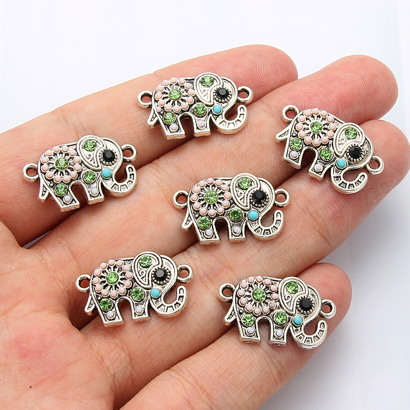 10pcs Crystal Elephant Jewelry Connection DIY Handmade Necklace Bracelet Pendant Fashion Jewelry Accessories