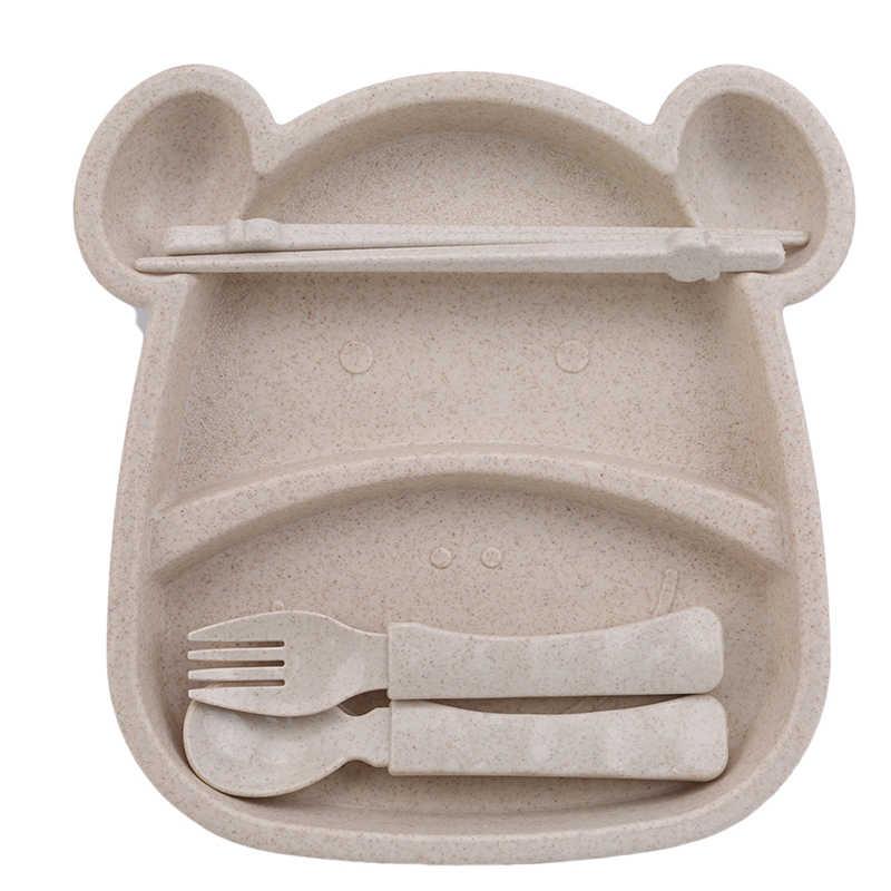 4 Cái/bộ Kid Cho Bé Di Động Đĩa Giỏ Muỗng Nĩa Đũa Bộ Đồ Ăn Mới Rơm Lúa Mì Hoạt Hình Khay Platos Chén Ăn Cho Trẻ Em