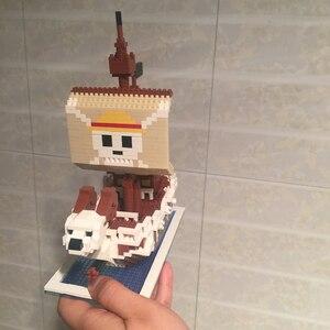 Image 5 - ZMS 3445 أنيمي قطعة واحدة لوفي الذهاب مرح القراصنة سفينة قارب نموذج ثلاثية الأبعاد لتقوم بها بنفسك كتل الماس الصغيرة بناء لعبة للأطفال لا صندوق