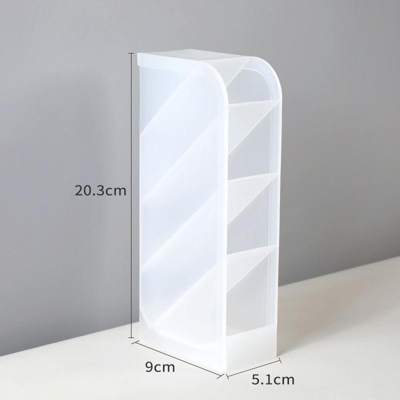 Bogelinuo Multi-function 4 Grid Desktop Pen Rack/Holder Office School Storage Case Clear White Black Plastic Box Desk