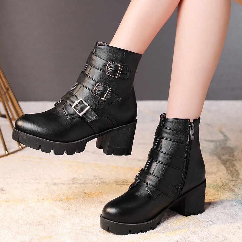 MoonMeek 2020 yeni yarım çizmeler kadınlar için yuvarlak ayak kare yüksek topuklu ayakkabı zip platform çizmeler toka klasik sonbahar kış çizmeler
