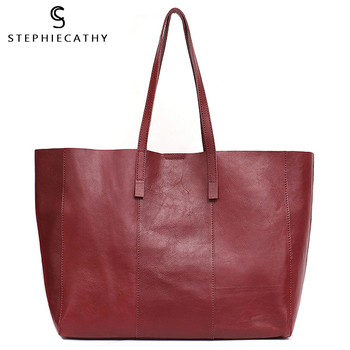 SC Luxury Leather Tote Handbag For Women High Quality Genuine Leather Tote Ladies Large Shoulder Bag Female Fashion Casual Style