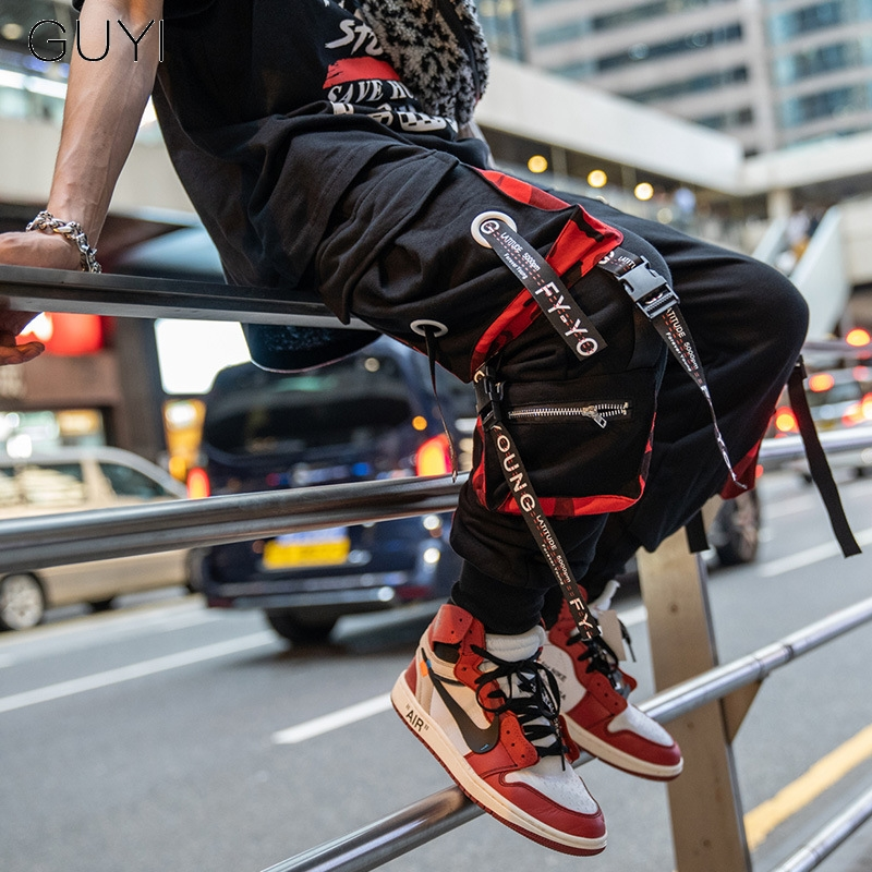 Cargo-Pants Trousers Pocket-Track-Pants Ribbons Joggers Hip-Hop Casual Letter for Men