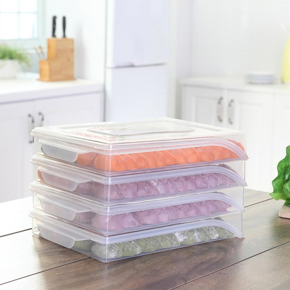 Clear Home Kitchen Frozen Dumpling Storage Box Refrigerator Fresh-keeping Tray