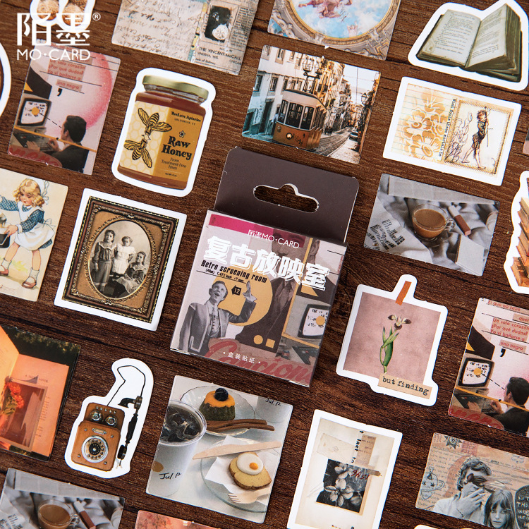 46PCS/box New Retro Projection Room Paper Lable Sealing Stickers Crafts Scrapbooking Decorative Lifelog DIY Stationery Sticker