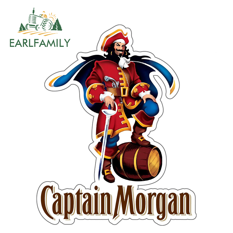 EARLFAMILY 13cm X 10.3cm CAPTAIN MORGAN Sticker Decal Rum Alcohol Car Bumper Bar Personality Waterproof Accessories