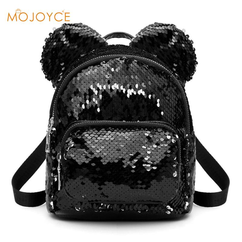New Baby Girls Kids Backpack Mouse Ears Bags Kids Fashion Mini School Bag Women Travel Sequins Backpack Mini Bag Dropshipping