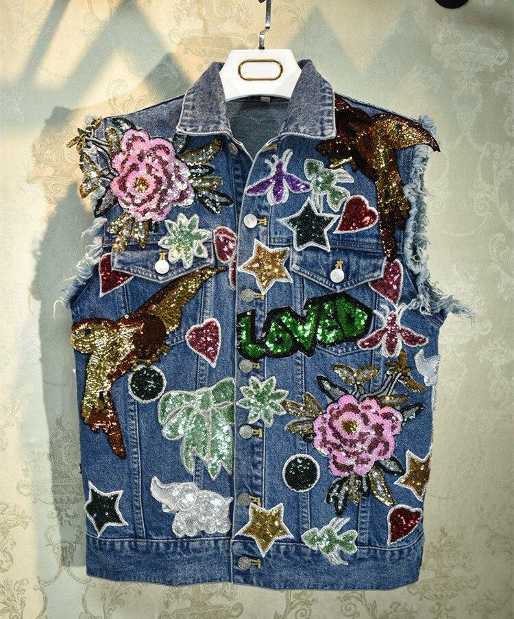 2019 Autumn women high quality sequins Denim jackets Chic coat B060