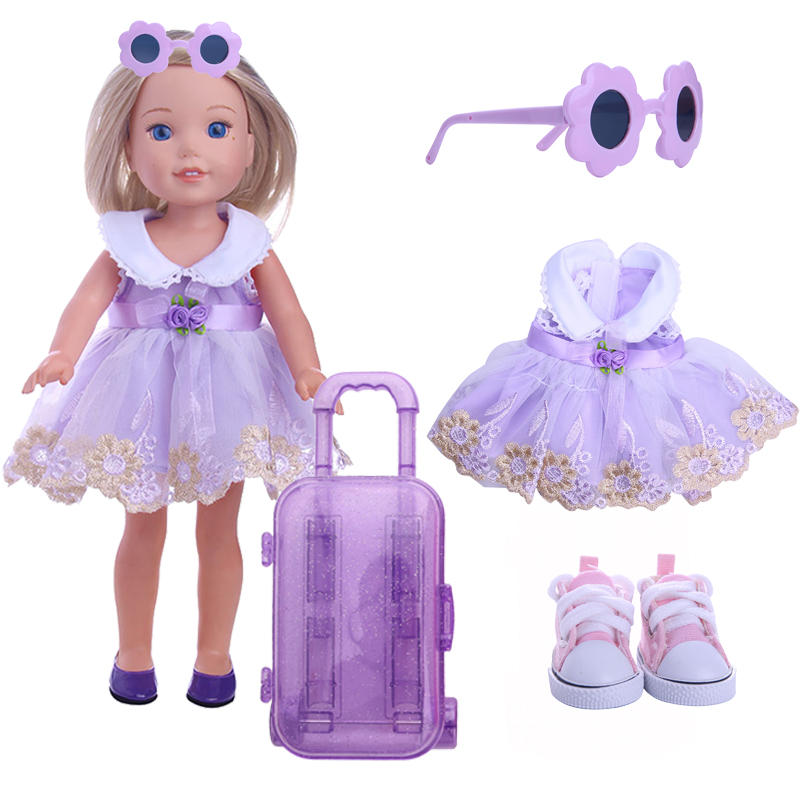 Doll Cloths Accessories Fashion Set Doll Dress /shoes/Suitcase For 14.5 Inch Doll Wellie Wisher Christmas Birthday Girl's Gifts