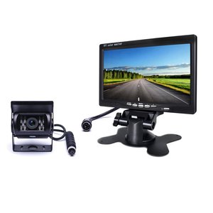 F0505 de 7 pulgadas Monitor de coche TFT LCD con impermeable LED de la visión nocturna de la cámara de marcha atrás cámara de copia de seguridad Kit para camión de autobús