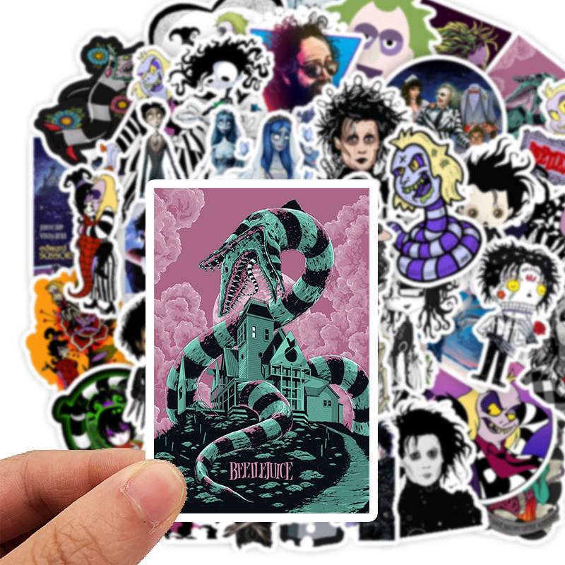 50 PCS Tim Burton's Movie Beetlejuice&Corpse Bride Stickers Motorcycle Sticker For Phone Laptop Graffiti Stickers Decals