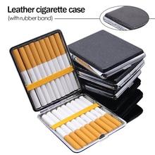 Кожаный чехол для сигарет, персонализированный креативный 20 палочек с резиновой лентой, Подарочная коробка, коричневый Чехол, металлически...