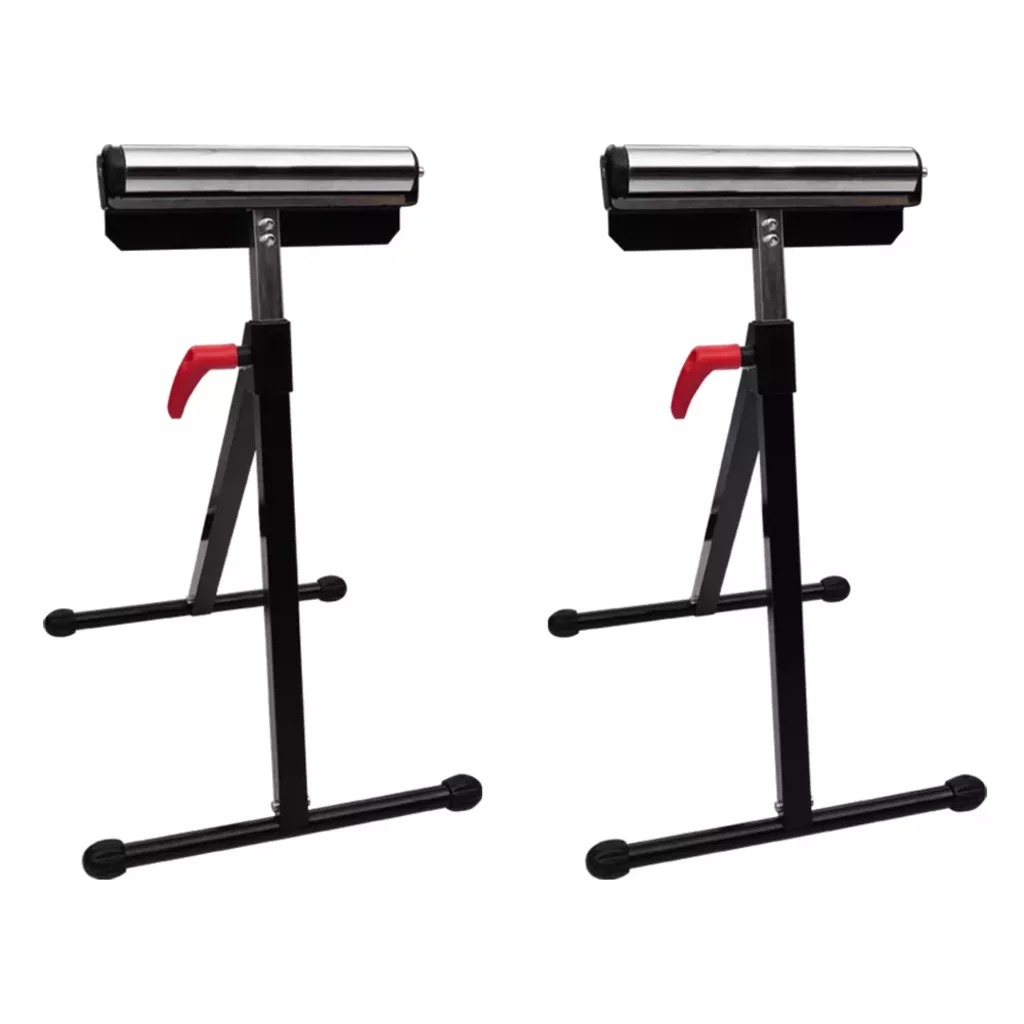 VidaXL Set Of 2 Adjustable Roller Stands Height Folding Roller Stand Pedestal Ball Bearing Roller Works With Table Miter Saws V3