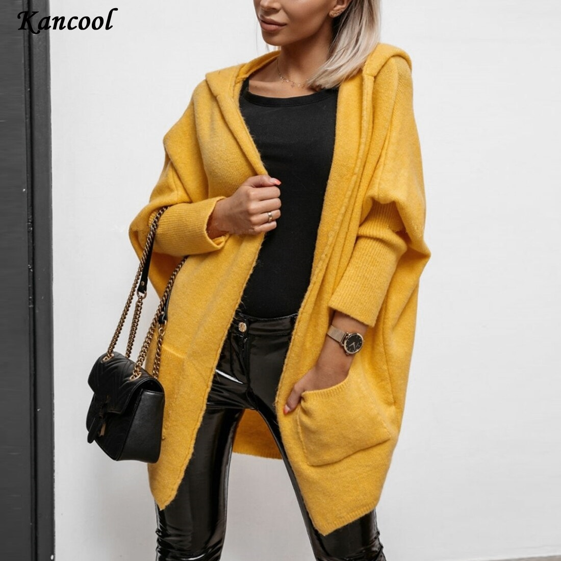 KANCOOL 2020 Solid Knitted Long Cardigan Women Autumn Hooded Batwing Sleeve Women