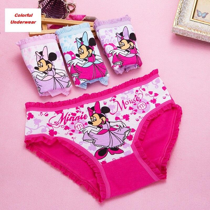 4Pcs/Lot Baby Girls Underwear Cute Kids   Panties   Minne Girl Lace Teenage Cartoon Underpants Children Short Briefs Cotton   Panties