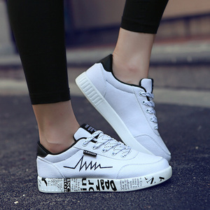 Image 3 - Mulher vulcanizado sapatos primavera verão sapatos casuais senhoras respirável tênis de lona feminino graffiti impresso sapatos planos mais tamanho