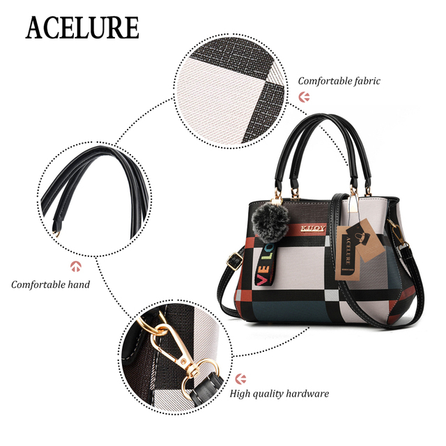 ACELURE New Casual Plaid Shoulder Bag Fashion Stitching Wild Messenger Brand Female Totes Crossbody Bags Women Leather Handbags 2