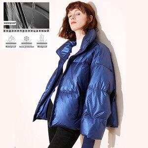 Image 2 - 새로운 광택 방수 여성 자 켓 파 카 2019 겨울 자 켓 여성 패션 Windproof 따뜻한 패딩 아래로 파 카 여성 코트 여성