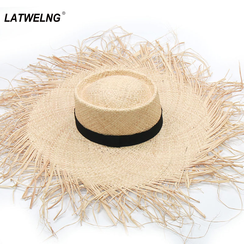 New Handmade Oversized Beach Hats For Women Big Brim Bummer Sun Hat Raffia Cooling UV Hat Wholesale Dropshipping NH976