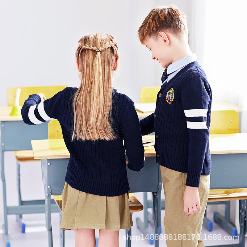 2019 New Style Clothes Kindergarten Spring And Autumn Middle And Large Young STUDENT'S School Uniform Sweater Sports Clothing Th