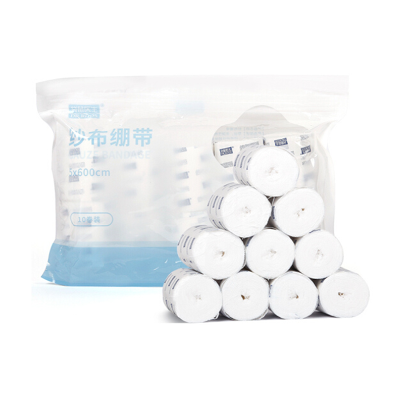 DR.ROOS 10 Rolls/pack 5×600 Cm Bandages Medical Grade Sterile First Aid Wound Care Gauze Bandage Rolls