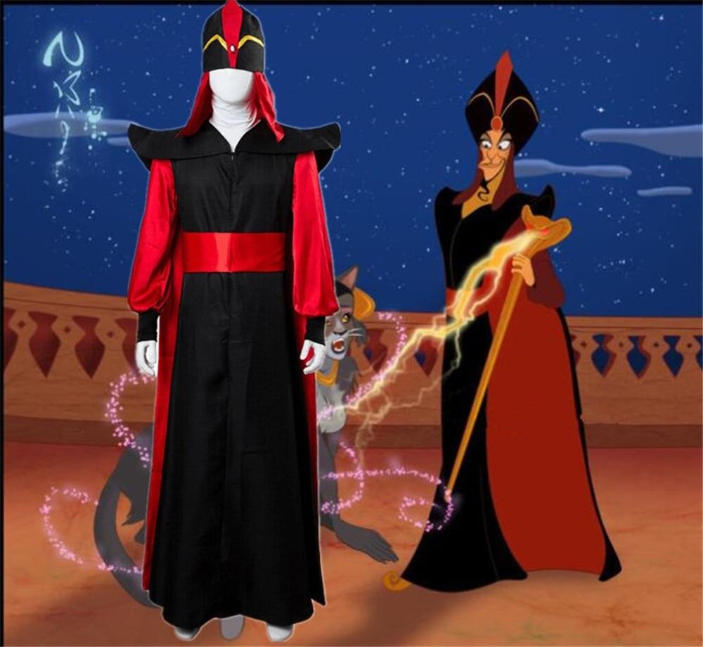 Cosplay Halloween Aladdin And The Magic Lamp Mens Jafar Costumes Role Play Wizard Jafar Robe Costumes