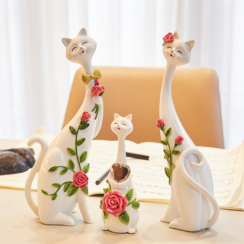 3 Pcs/set Lucky Cats Art Sculpture Decorations Statue Animal Figurine Resin Craft Home Decorations Wedding Gift R4861